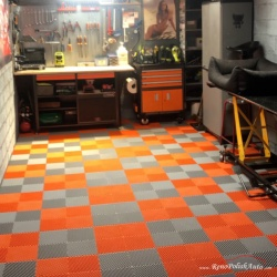 Dalle de sol PVC garage orange