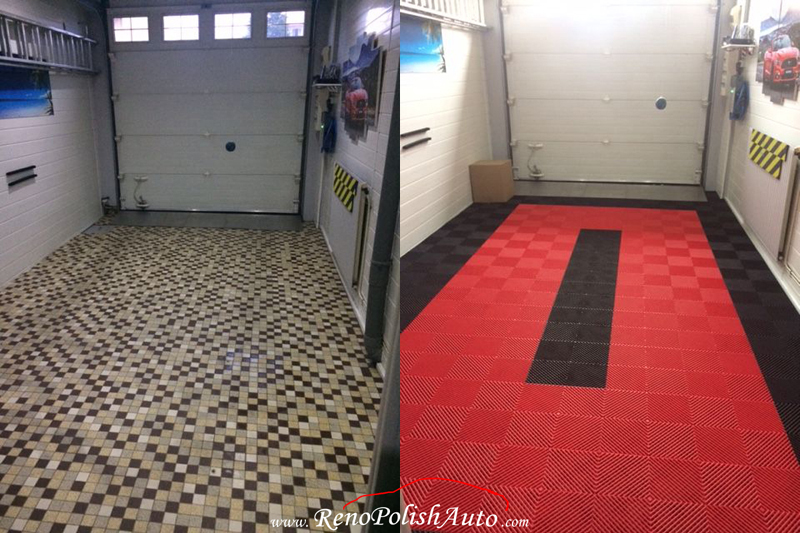 Dalle de garage rouge Squarefloor Renopolishauto