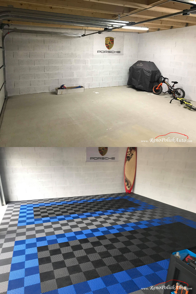 Dalle-de-garage-Bleue-Revetement-Sol-Porsche
