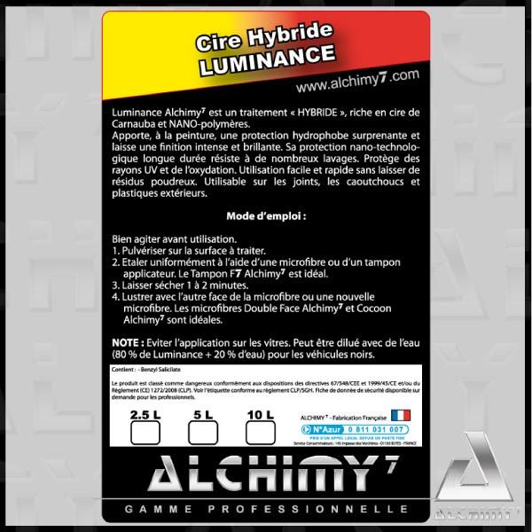 luminance alchimy est une cire de carnauba et nano polym res. Black Bedroom Furniture Sets. Home Design Ideas